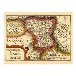 """Darbyshire"" Derbyshire County Map, England Postcard"