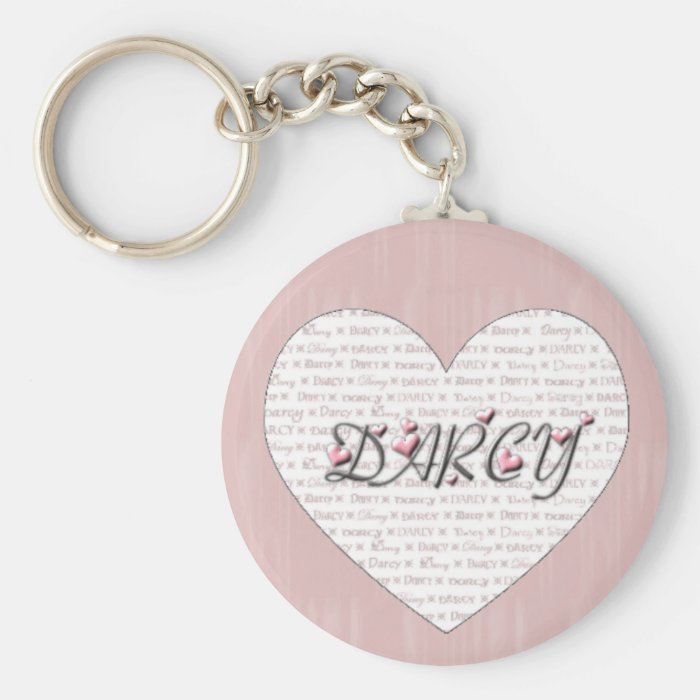 Darcy with Hearts! Basic Round Button Key Ring