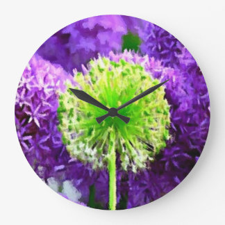 Dare to Be Different Lime Green Purple Flowers Wall Clocks