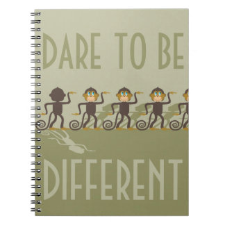 Dare to be different, monkeys, safari spiral notebooks