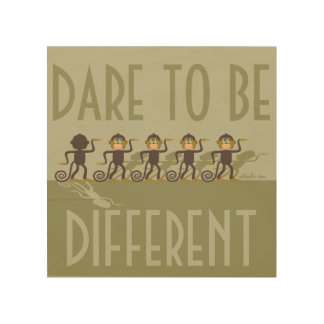 Dare to be different, monkeys, safari wood canvas