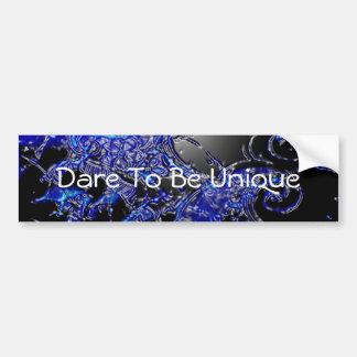 Dare To Be Unique Silver Blue Swirl Abstract Bumper Sticker