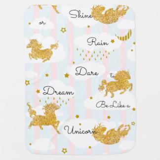 Dare to Dream Like a Unicorn Gold Glitter Baby Blanket