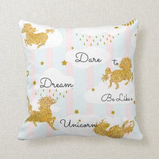 Dare to Dream Like a Unicorn Gold Glitter Throw Pillow