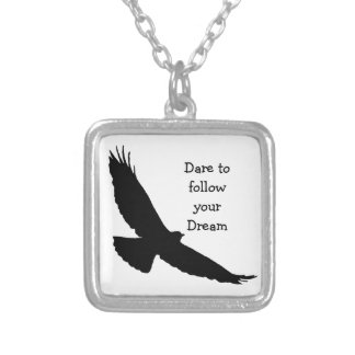 Dare to follow your Dream Hawk Silhouette Custom Necklace