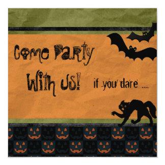 Dare Ya Batty Halloween Party Personalized 13 Cm X 13 Cm Square Invitation Card