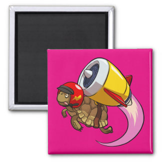 Daredevil Flying Tortoise with a Jet Pack Cartoon Square Magnet