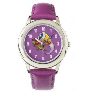 Daredevil Flying Tortoise with a Jet Pack Cartoon Wrist Watch