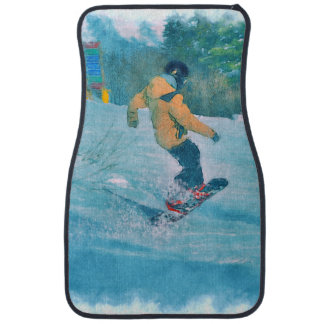 Daring Snowboarder at Snow Resort - Outdoor Sports Car Mat
