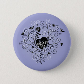 Dark Abstract Whimsical Fixed Broken Heart 6 Cm Round Badge