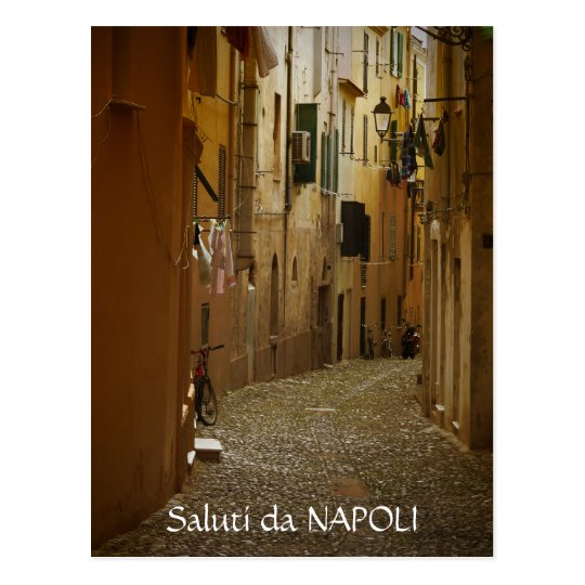 Dark alley in Naples, Italy text postcard