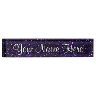 Dark Amethyst Purple Glitter Name Plate