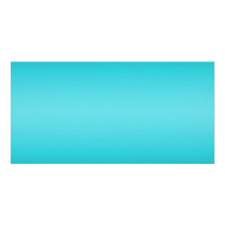 Dark and Light Aqua Blue Gradient - Turquoise Customized Photo Card