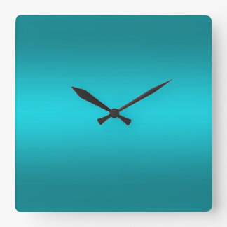 Dark and Light Aqua Blue Gradient - Turquoise Square Wall Clock