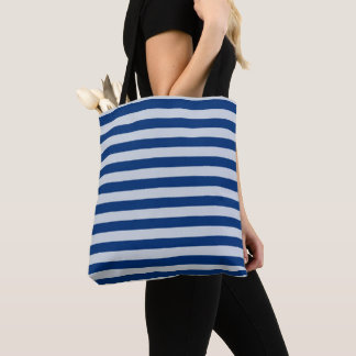 Dark and Light Blue Stripes Tote Bag