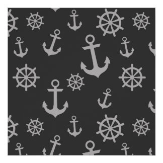 Dark and Light Grey Anchors Pattern Poster