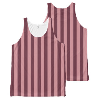 Dark and Light Pink Stripes All-Over Print Tank Top
