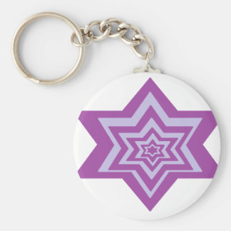 Dark and light purple stars in stars. keychain