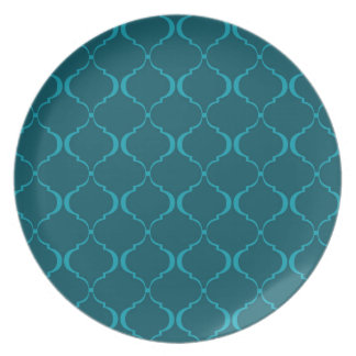 Dark and Light Teal Moroccan Pattern Party Plates