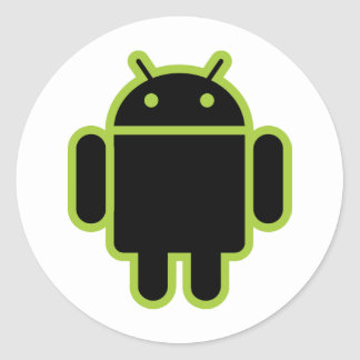 Dark Android Classic Round Sticker