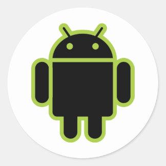 Dark Android Classic Round Sticker