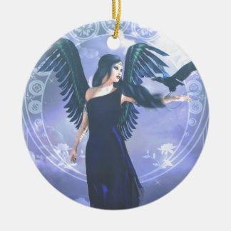 Dark Angel Round Ceramic Decoration