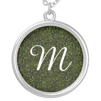 Dark Apple Green Glitter Round Pendant Necklace