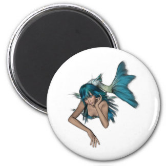 Dark Aqua Blue 3D Mermaid Magnet