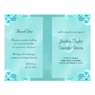 Dark Aqua Blue Floral Teal Bi-Fold Wedding Program Flyer