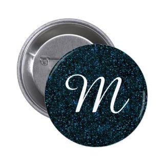 Dark Aqua Blue Glitter 6 Cm Round Badge