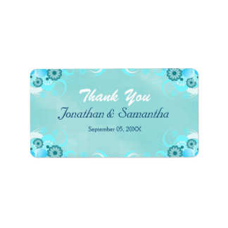 Dark Aqua Blue Teal Floral Medium Wedding Favor Address Label