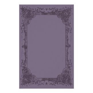 Dark Aubergine Romantic French Flourish Stationery