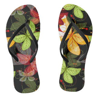 Dark Autumn Pattern Flip Flops