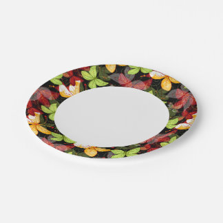 Dark Autumn Pattern Paper Plate