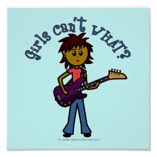 Dark Bass Guitar Girl Poster