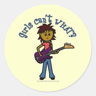 Dark Bass Guitar Girl Round Sticker