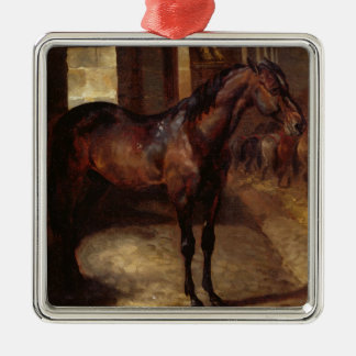Dark Bay Horse in the stable Christmas Ornament