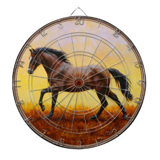 Dark Bay Stallion Horse Galloping Dart Board