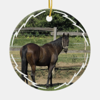 Dark Bay Thoroughbred Horse Ornament