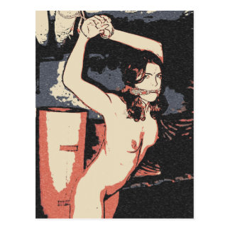 Dark bdsm, bondage art, erotic nude in cellar postcard