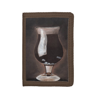 Dark Beer in Tulip Glass Porter Stout Painting Art Tri-fold Wallet
