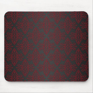 Dark Black and Red Damask Mouse Pads