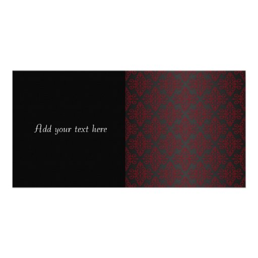 Dark Black and Red Damask Personalized Photo Card