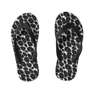 Dark Black Cheetah Abstract Kid's Flip Flops