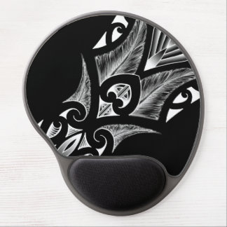 Dark black design with koru tattoo in white gel mouse pad