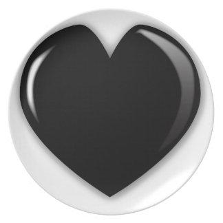 Dark Black Heart Dinner Plate