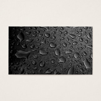 Dark Black Water Droplets Textured Design Business Card