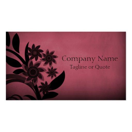 Dark Blooms Business Card, Burgundy