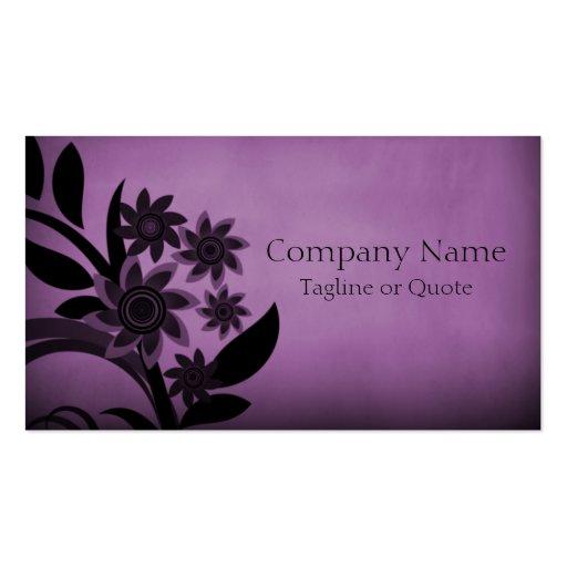 Dark Blooms Business Card, Eggplant