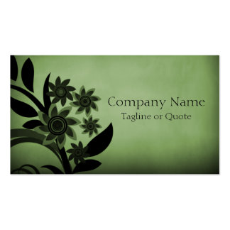 Dark Blooms Business Card Forest Green